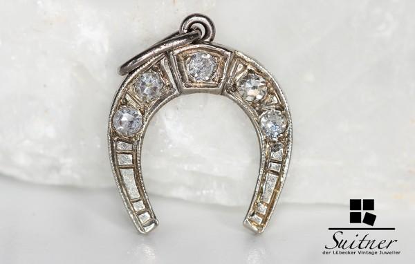 antiker wunderschöner Anhänger Hufeisen Diamanten Weißgold 750 antik