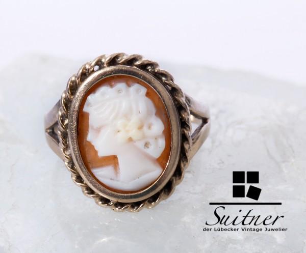süsser Ring aus Gold mit Gemme Kamee Gr 47 Kinderring