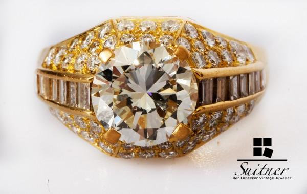 Bulgari Trombino Ring 850 Gold mit 4,87ct. Brillanten und Diamant Rarität