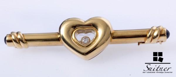 Chopard Brosche Happy Diamonds 750 Gold und Saphir Herz