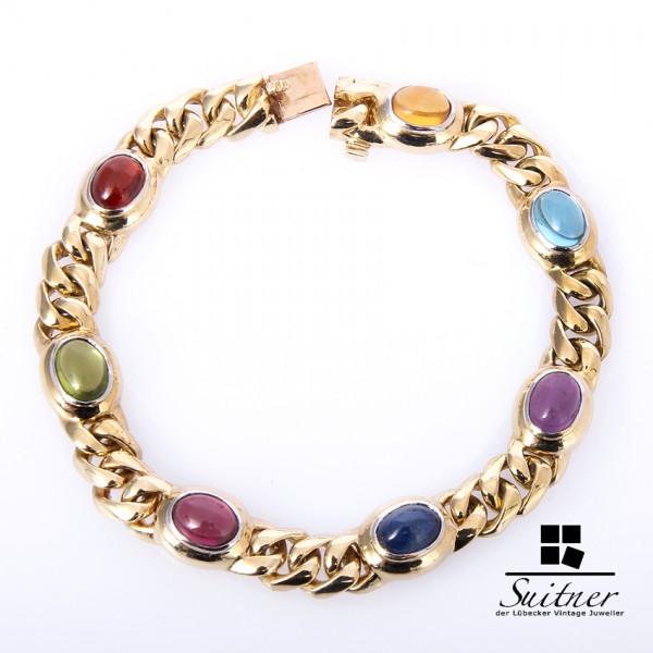 Armband 585 Gold Saphir Amethyst Granat Blautopas Citrin Peridot Rhodolith multicolor