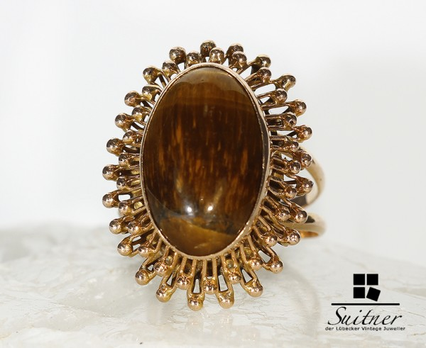extravaganter Tigeraugen Ring aus 585 Gold Rosegold XL Ring