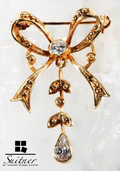 feinste Jugendstil Art Nouveau Brosche aus Gold mit Tropfen Diamant