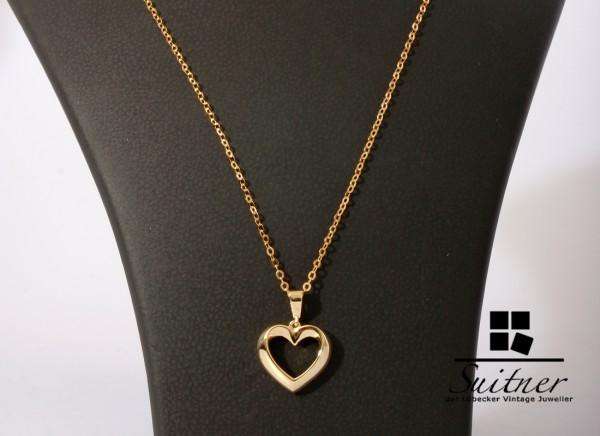 modernes Collier Kette Herz Anhänger 585 Gold 45cm neuwertig