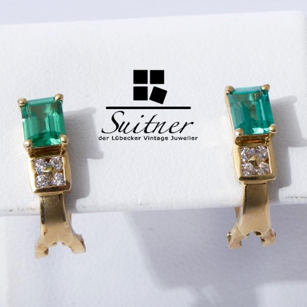 feine Ohrstecker im Smaragd Brillant Look - Ohrringe aus 750 Gold