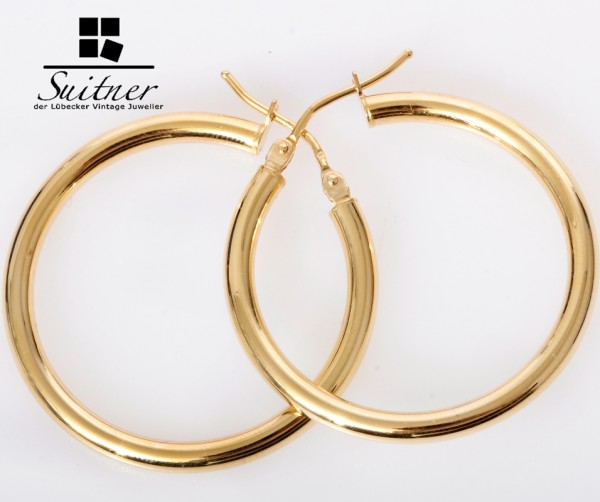 XL Creolen aus Gold - sehr klassisch neuwertig - Ohrschmuck Ohrringe