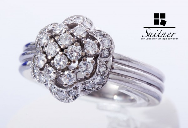 Brillant Ring Wiener Rose 750 Weißgold Gr. 57,5 Art Deco - 30 Diamanten