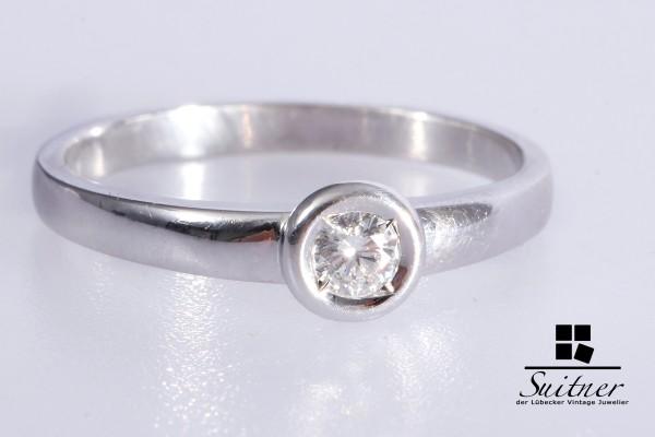 Brillant Ring Solitär mit ca. 0,17 ct 585 Weißgold Gr. 56 Verlobungsring