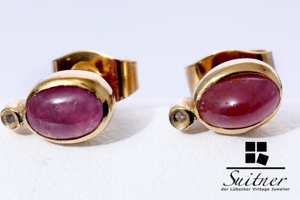 verschiedenes Design hohes Ansehen hoch gelobt klassische Rubin Ohrstecker mit Brillanten 585 Gold Rot