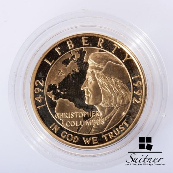 5 Dollar 1992 Goldmünze PP 500 Jahre Entdeckung durch Columbus