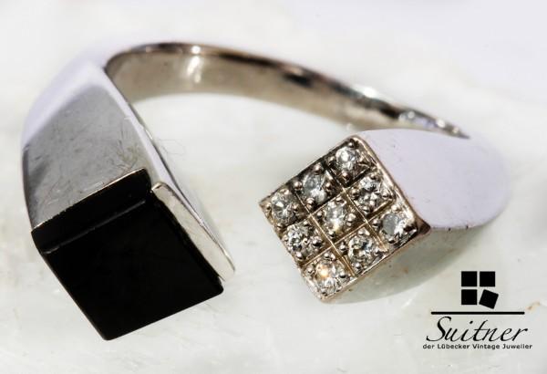 offener Design Onyx Ring mit Brillanten 750 Weißgold modernes Unikat Luxus