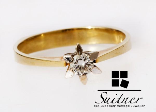 klassischer Verlobungsring Solitär Brillant 0,18ct 585 Gold Gr. 55