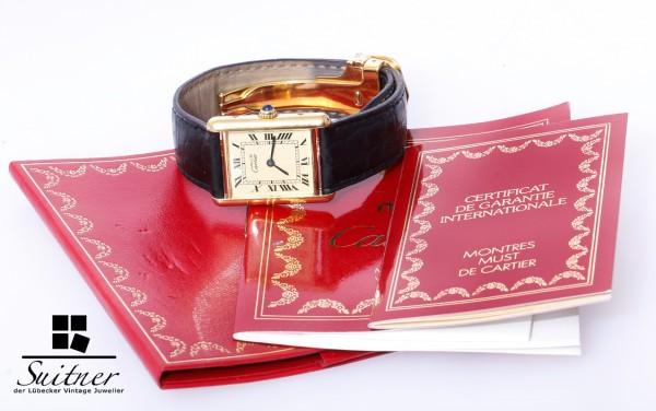 Cartier Tank Medium Vermeil Silber vergoldet Papiere Faltschließe 590005