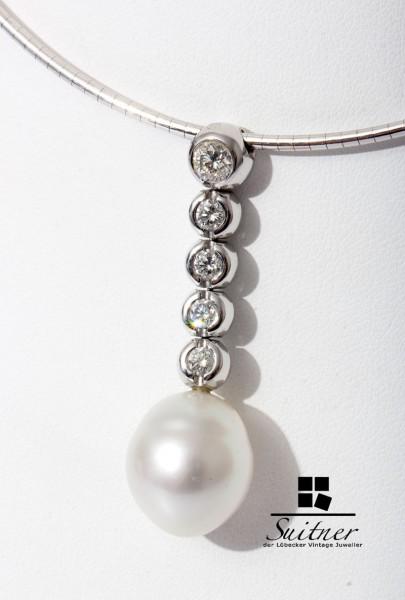 Omega Halsreif mit Brillanten 1,03ct und riesiger Südsee Perle