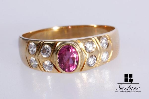 wertvoller Rubin Brillant Ring aus 585 Gold Gr. 56 Taubenblut Rot