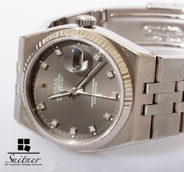 seltene Rolex Oysterquartz 17014 Stahl Weißgold Diamanten Zifferblatt TOP