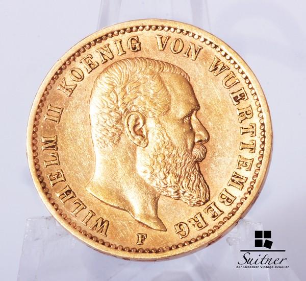 20 Mark Wilhelm II König von Württemberg 1900 F ss-vz - selten