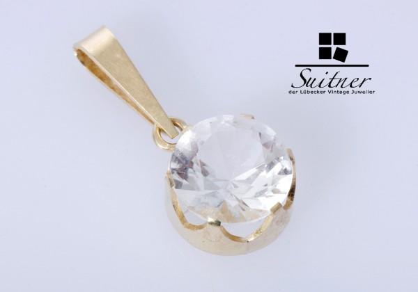 Schöner Modernistischer Anhänger in 585er Gold mit Bergkristall aus Wien