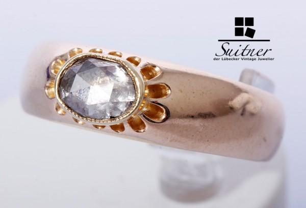 antiker Altschliff Diamant Ring 585 Gold Gr. 61 großer Stein Oval