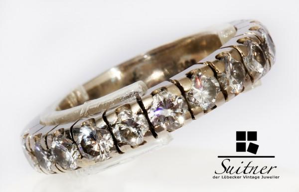 moderner Memory Ring mit 1,15ct. Brillanten 585 Weißgold Gr. 50 Gold