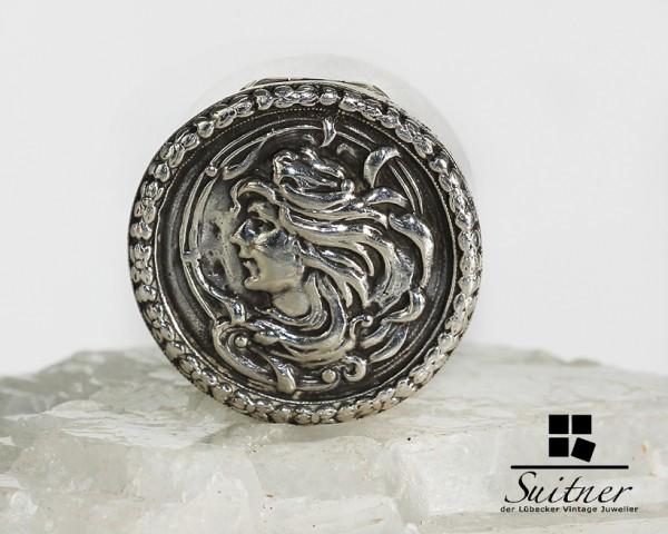 Pillendose Jugendstil Art Nouveau England Sterling Silber