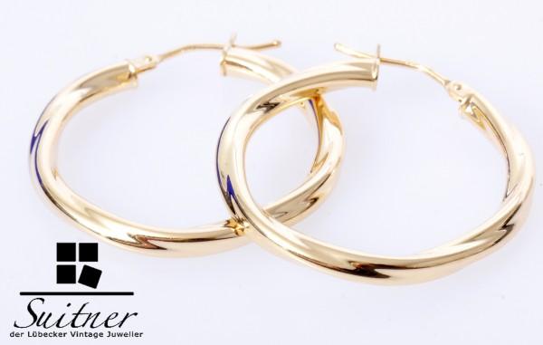 XL 585 Gold Creolen Ohrschmuck Design gedreht große Ohrringe