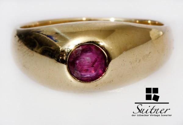 wertvoller Rubin Ring aus 585 Gold Gr. 54 Handarbeit Bandring Taubenblut Burma