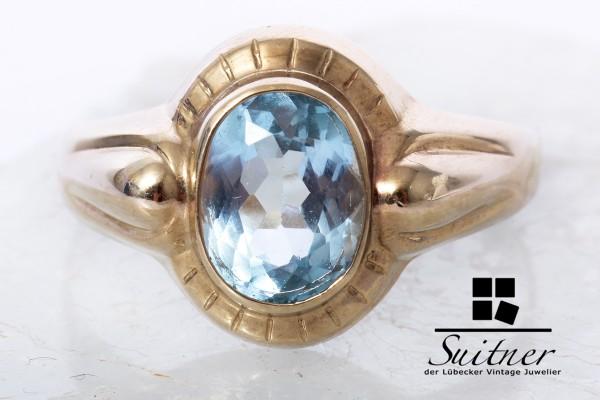 Blautopas RIng gefertigt aus Gelbgold Gr. 60 Jugendstil Optik Gold