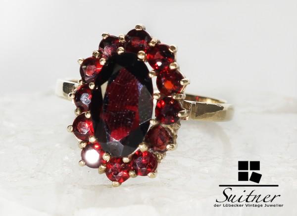 Antiker Granat Ring aus Gold Böhmen rote Steine wie Rubin Art Deco