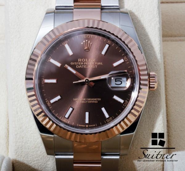 neue Rolex Datejust 41 Ref. 126331 ungetragen Stahl Roségold Choco Dial 2020