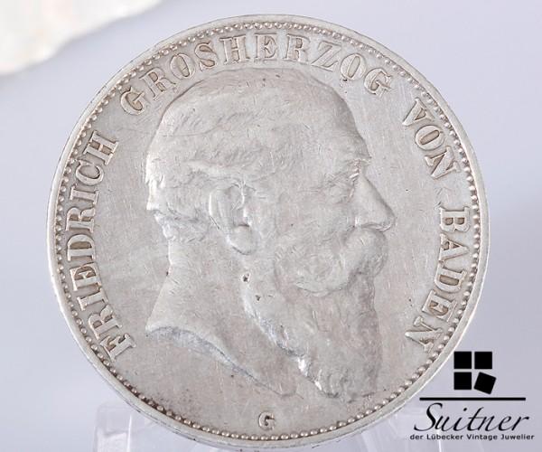 5 Mark Friedrich Großherzog Baden 1907 G ss