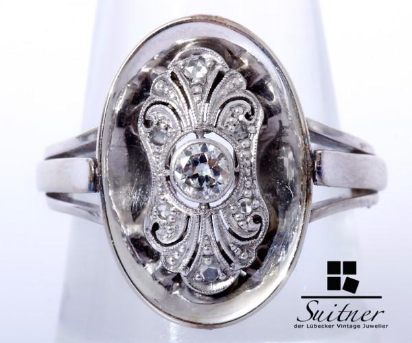 antiker Jugendstil Diamant Ring ca. 0,17ct 585 Weißgold Gr. 57,5 Gold Brillant