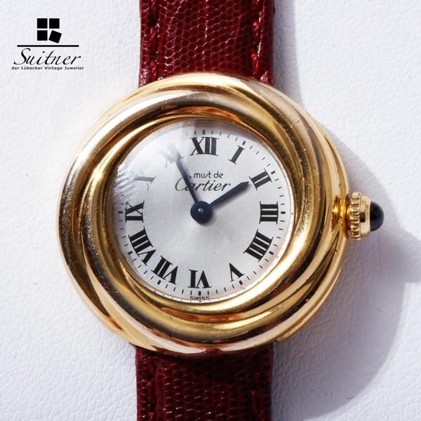 Cartier Trinity Vermeil Damen Quarz Uhr Silber / vergoldet