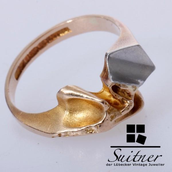 Lapponia Ring aus 585 Gold und Weißgold Nugget Gr. 50