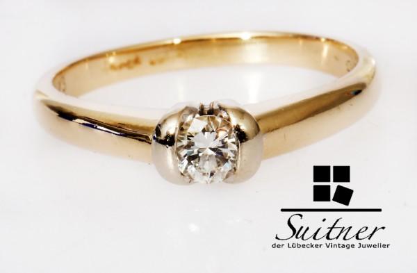 moderner Solitär Ring mit 0,23ct. Brillant aus 585 Gold Verlobungsring Spannring