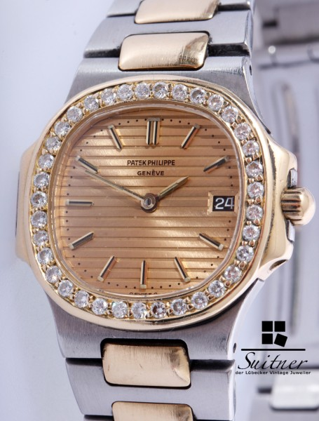Patek Philippe Nautilus Stahl Gold Brillant Besatz goldenes Zifferblatt 4700