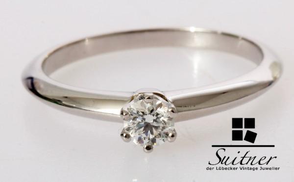 Tiffany Ring Brillant 0,19ct Ring 950 Platin Verlobungsring Gr. 51