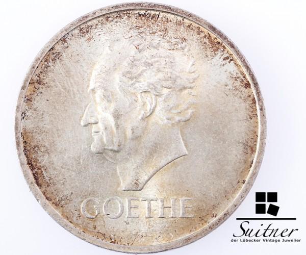 5 Mark Reichsmark Goethe 1932 Prägestätte A SS - VZ schöne Patina SELTEN