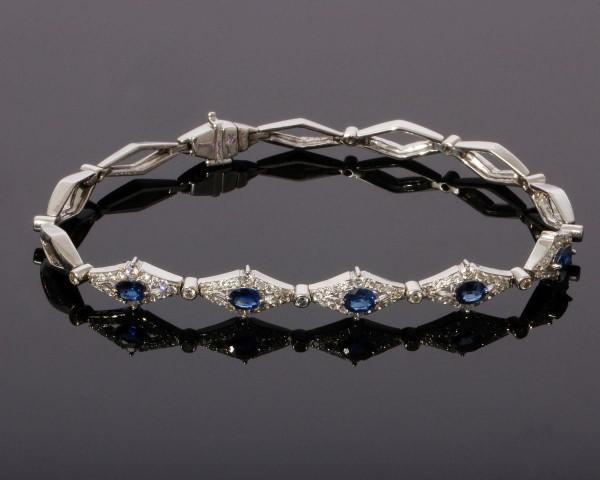 Art Deco Armband mit Brillanten und Saphiren 750 Weißgold Venedig