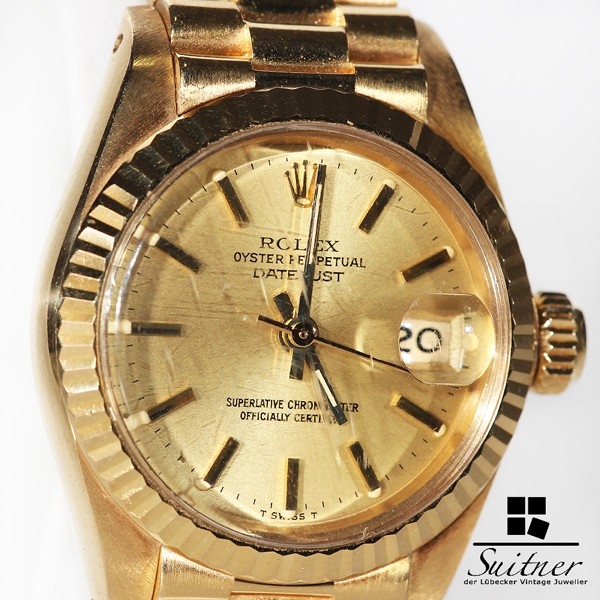 Rolex Datejust Lady 750 Gold mit President Armband - 1982 mit Beleg