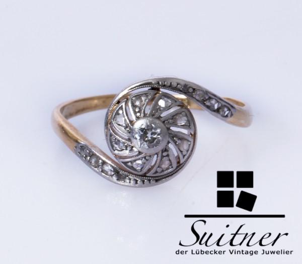 antiker Art Deco Ring mit Diamanten aus 585 Gold Gr. 53 Schnecke rund