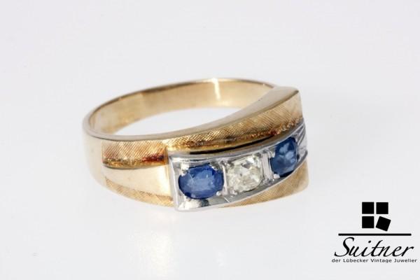 wertvoller Ring aus 585 Gold mit Diamant ca. 0,25ct und 2 Saphire Gr 55