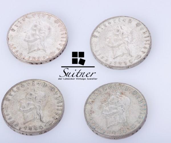 2 Mark Reichsmark Schiller 1934 Prägestätte F SS