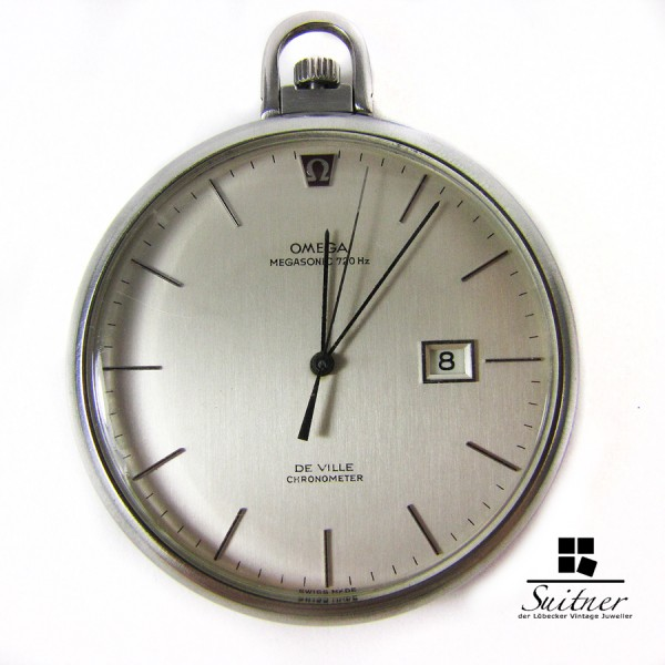 Omega de Ville Megasonic 720 Hz Taschenuhr Bergbau Chronometer extrem selten