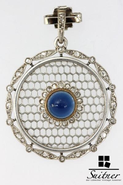Medaillon Platin Saphir 585 Gold Andenken Anf. 19. Jhdt Trauerschmuck