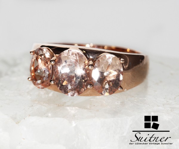 feiner Luxus Ring 585 Roségold Beryll Morganit Rose Gold XL Pink