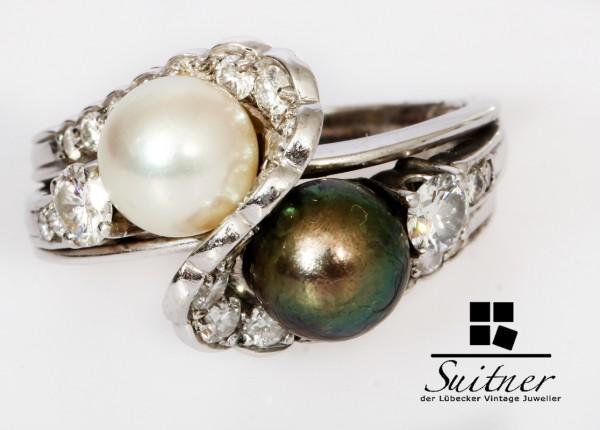 wertvoller Brillant Perlen Ring Tahiti und Südsee Perle 585 Weißgold Gr. 54 Gold Unikat