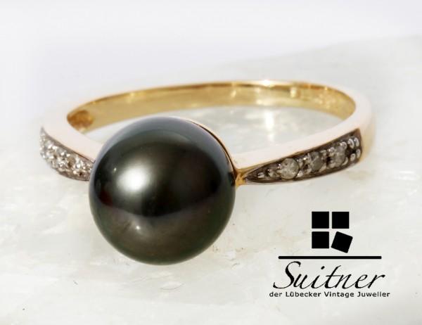 feiner Tahiti Perlen Ring aus 585 Gold mit Diamanten Gr. 56