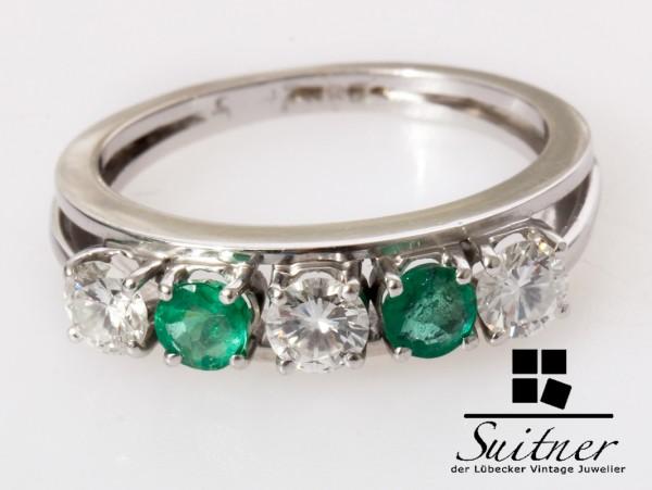 klassischer Smaragd Brillant Ring 585 Weißgold Gr. 56 Vorsteckring