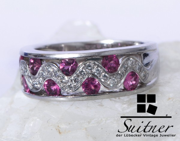 Hot Pink Saphir und Brillant Ring aus 750 Weißgold Gr. 54